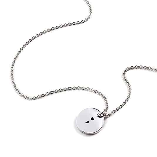 Yolanda Stainless Steel Heart Semicolon Necklace