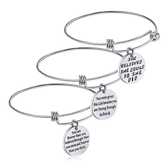 iJuqi Birthday Gifts for Women Girls - 3PCS Stainless Steel Inspirational Charm Bracelets