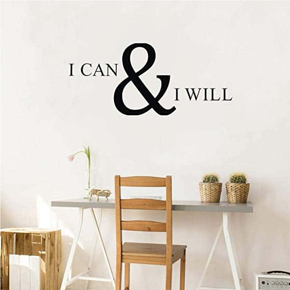 I CAN & I WILL Wall Decal Inspirational and Motivational Attitude Vinyl Wall Sticker