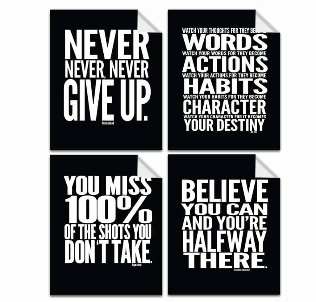 Lushleaf Designs Motivational Quote Workout Gym Posters