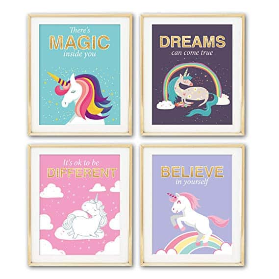Unicorn Inspirational Motivational Quotes Wall Art Prints
