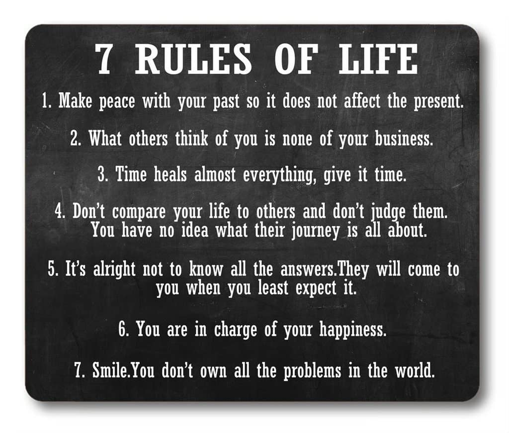 Smooffly Gaming Mouse Pad Custom,7 Rules of Life Motivational
