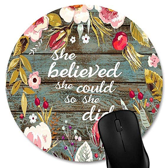Knseva Round Mouse Pad She Believed She Could So She Did Inspirational Quote