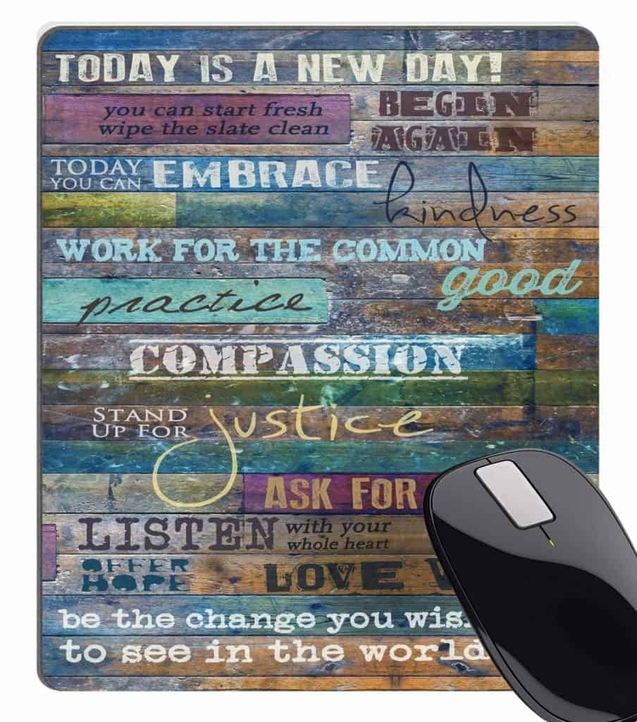 Wknoon Inspirational Quotes Vintage Rustic Barn Wood Art Mouse Pad