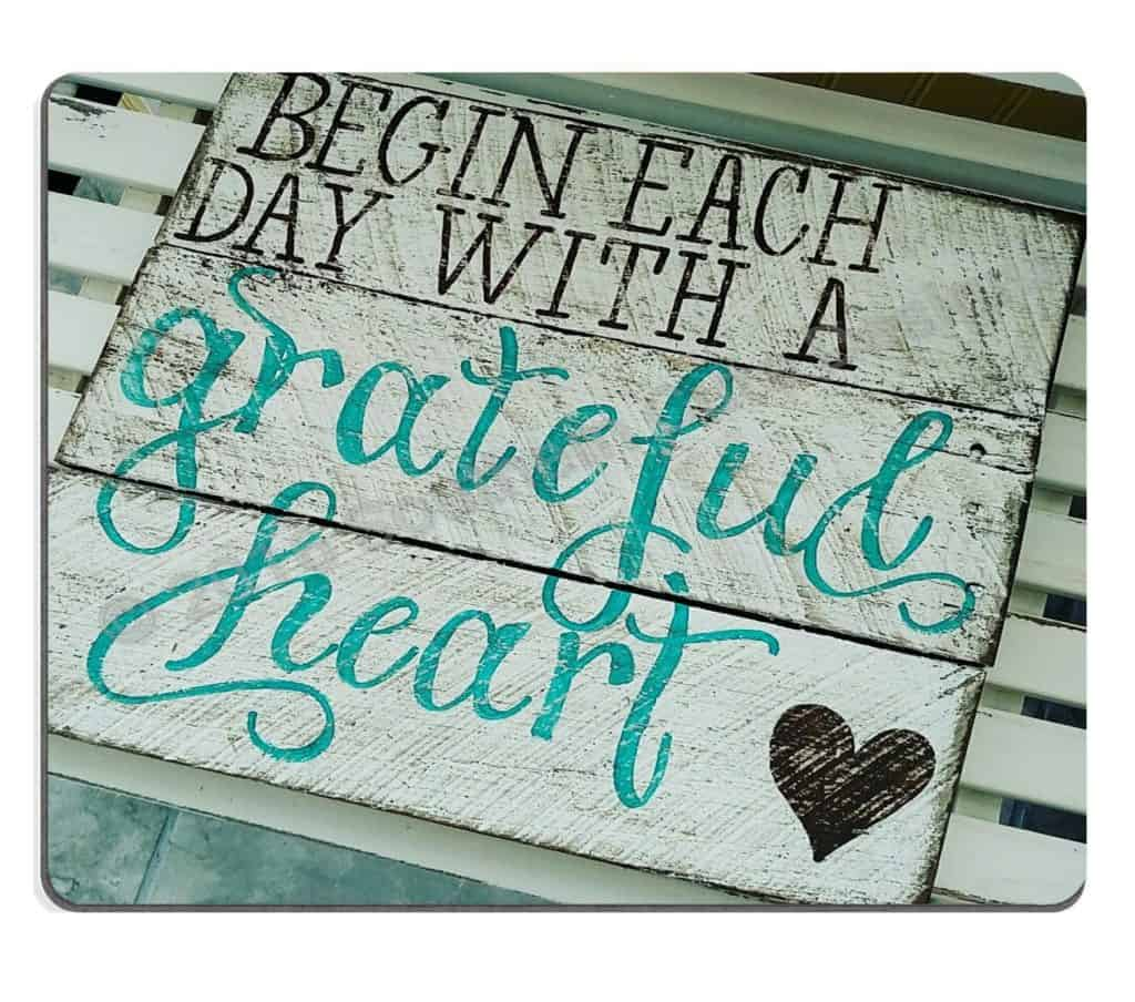 Wknoon Gaming Mouse Pad Custom, Begin Each Day with A Grateful Heart Quotes