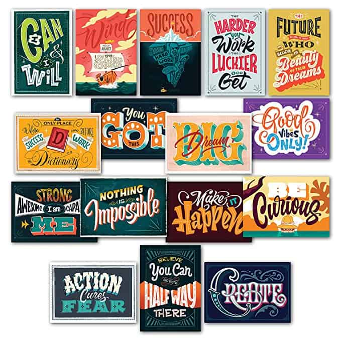 16 Inspirational Classroom Posters - Full Color Motivational Quotes for Students